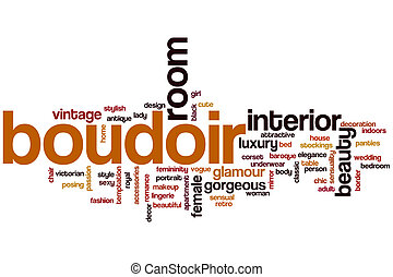 Boudoir word cloud concept with interior beauty related tags