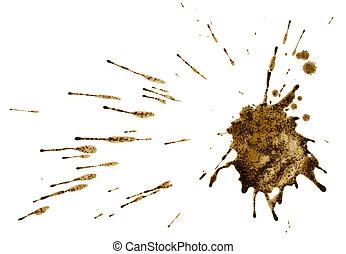 boue, café, éclaboussure, ou, isolé