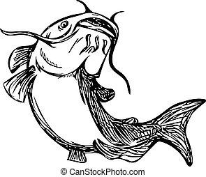 boue, chat, haut, blanc, poisson-chat, noir, dessin, sauter