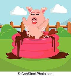 Boue, gonflable, natation, piscine, cochon