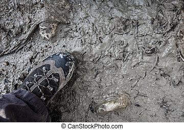boue, marcher