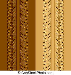 boue, sable, vecteur, trace, pneu