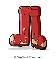 boueux, dessin animé, bottes