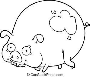 boueux, dessin animé, cochon