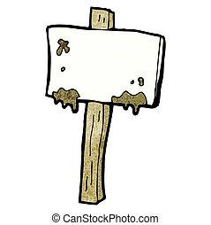 boueux, dessin animé, poteau indicateur