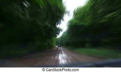 boueux, timelapse, -, forêt, équitation, route