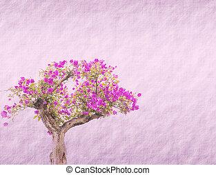 bougainvillea, flor, en, viejo, papel, plano de fondo