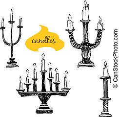 bougeoirs, bougies, ensemble