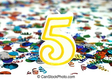 bougie, -, 5, nombre, célébration