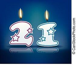 bougie, anniversaire, nombre, 21