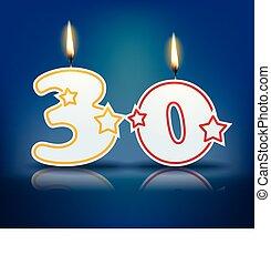 bougie, anniversaire, numéro 30