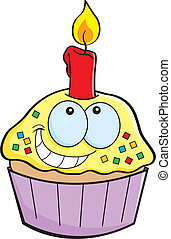 bougie, dessin animé, petit gâteau