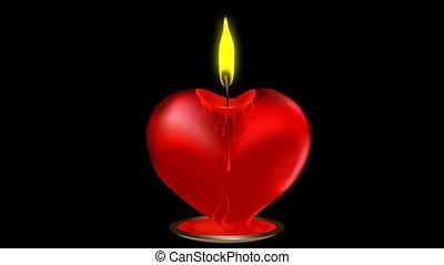 bougie, forme coeur, vecteur, valentin