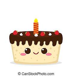 bougie, mignon, gâteau chocolat, fraise