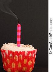 bougie, petit gâteau, a éteint