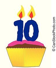 bougie, petit gâteau, numéro 10