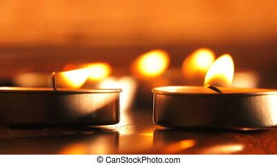 bougie, romantique, fond, lumière