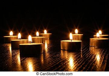 bougie, romantique, lumière