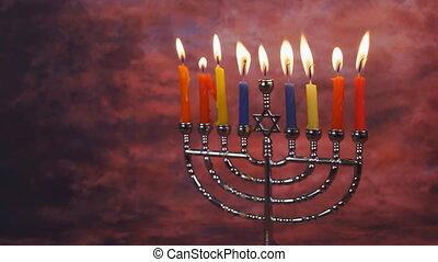 bougies, éclairage, hanukkah, célébration