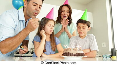 bougies, éclairage, père, anniversaire