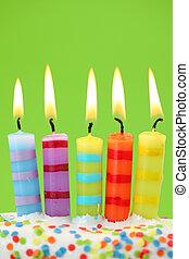 bougies, anniversaire, cinq