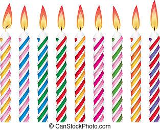 bougies, anniversaire, coloré