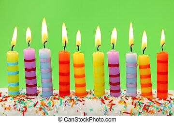 bougies, anniversaire, dix
