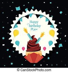bougies, anniversaire, hélium, ballons, petit gâteau