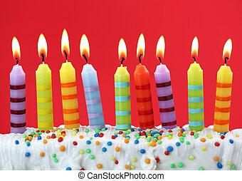 bougies, anniversaire, neuf