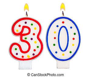 bougies, anniversaire, nombre, trente