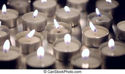 bougies, appareil photo, en mouvement, gauche
