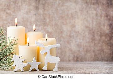bougies, arrière-plan., noël, lights.