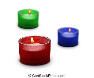 bougies, blanc, trois, isolé