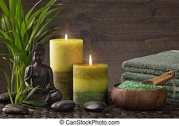 bougies, bouddha, statue
