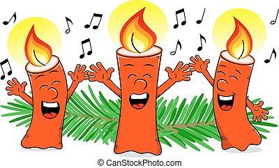 bougies, chant, chant, noël, dessin animé