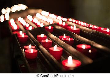 bougies, church., brûlé, autel