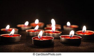bougies, close-up., rouges, petit, rond