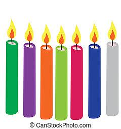 bougies, coloré