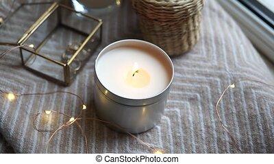 bougies, confortable, hiver, décor, maison, lumières