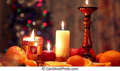 bougies, décoré, table, noël, dîner