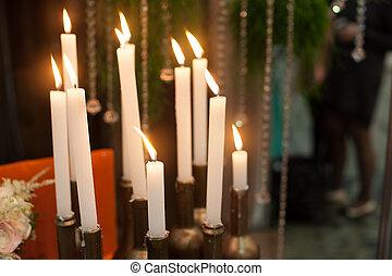 bougies,  décor,  scène, noël, bougie
