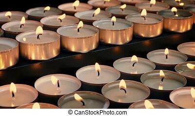 bougies, dépassement, rangées, thé