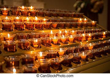 bougies, darknes, lumière, haut, prière