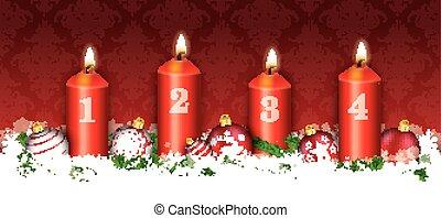 bougies, en-tête, 4, ornements, noël carte, rouges