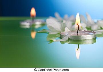 bougies, flotter, fleurs, brûlé