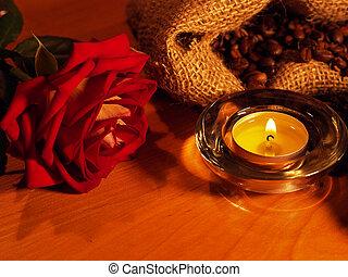 bougies, fond, rose