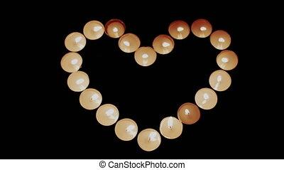 bougies, forme, brûlé, coeur
