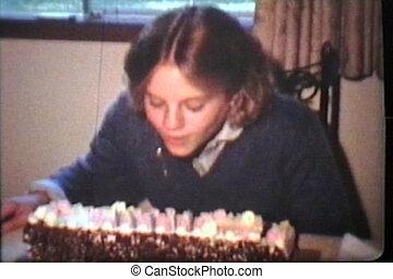bougies, girl, anniversaire, coups, dehors
