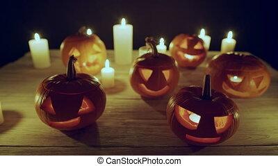 bougies, halloween, jack-o-latern, potirons