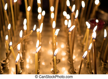 bougies, incandescent, table, church., beaucoup